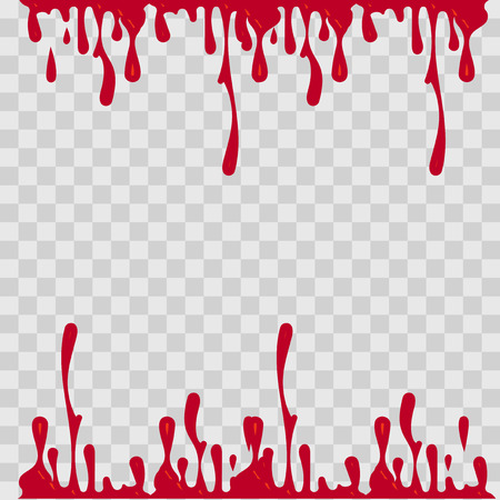 paint drop: Paint drop abstract illustration. Red blood on checkered transparent background. Flat style Stock Photo