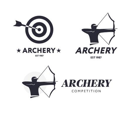 추상 양궁 로고입니다. 배지 개념입니다. 스포츠 활과 화살와 대상 아처입니다. 궁술 경쟁