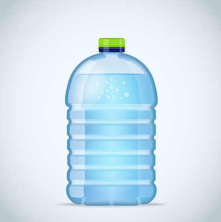 litre: Realistic large bottle with clean blue water isolated on the white background. mockup. Front view