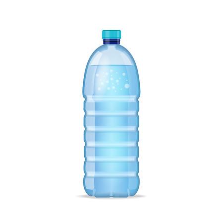 きれいなブルーの水が白い背景で隔離の現実的な瓶。モックアップ。フロント ビュー