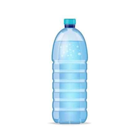 Realistic bottle with clean blue water isolated on the white background. mockup. Front view Imagens