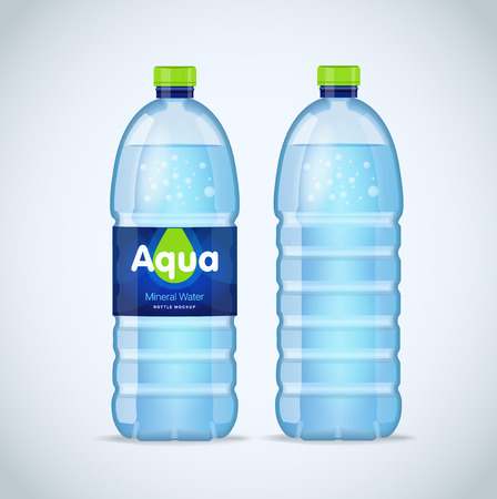 Realistic bottle with clean blue water isolated on the white background. mockup. Front view Banco de Imagens