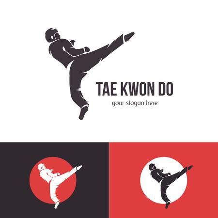 Vector plantilla de logotipo de taekwondo. Insignia de artes marciales. Emblema para eventos deportivos, competiciones, torneos. Silueta de un hombre