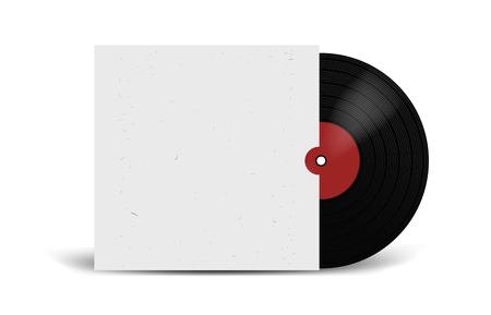 Realistic Vinyl Record with Cover Mockup. Disco party. Retro design. Front view 向量圖像