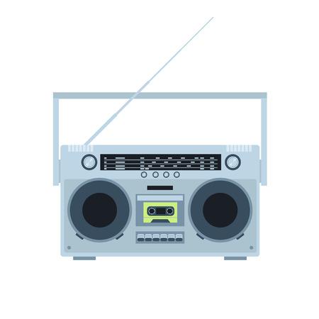 Magnetic tape cassette player. Vintage radio. Front view. Flat illustration.