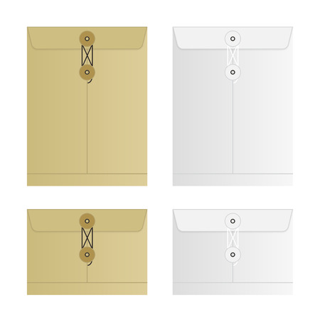 manila: Tied Sealed Letter Envelopes Set Isolated on White Background. Collection of the vector envelope templates. Brown, yellow and white colors. Top view.