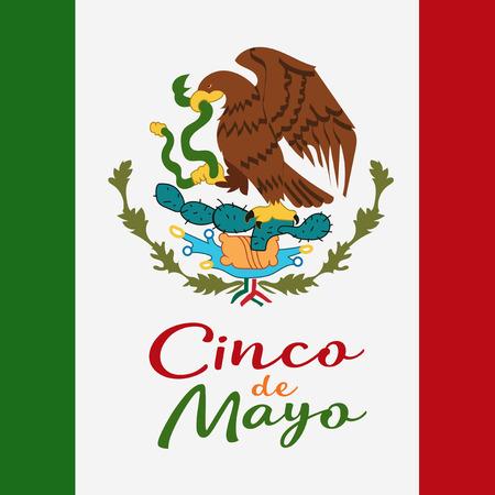 Cinco De Mayo Poster Design Symbol Of The Mexican Flag Eagle