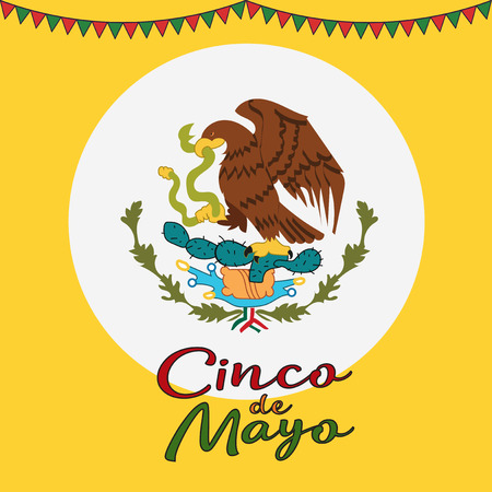 Cinco De Mayo poster design. Symbol of the Mexican flag. Eagle with snake. Vector template with copy space for your holiday celebration at a bar, restaurant Illustration