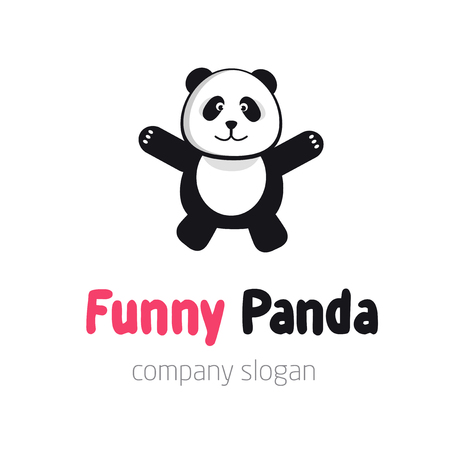 Panda bear  or badge template. Flat design. Animal silhouette. Illustration