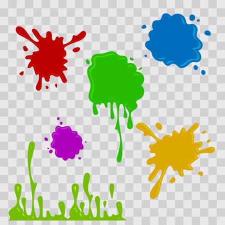 페인트 드롭 추상 그림입니다. 체크 무늬 투명 배경에 여러 가지 빛깔의 밝아진. 플랫 스타일. 벡터 설정입니다. 스톡 콘텐츠 - 76709038