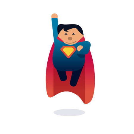 Superhero icon concept. Fat character flying. Flat style.