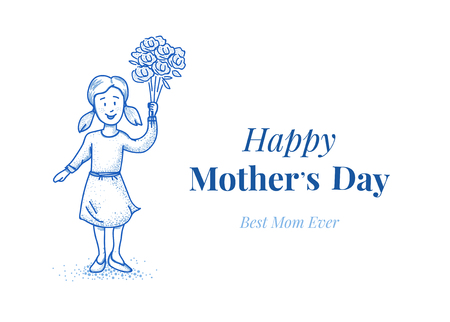 母亲节快乐。有花的女儿。小女孩。手绘插图。蓝线设计。卡片模板。