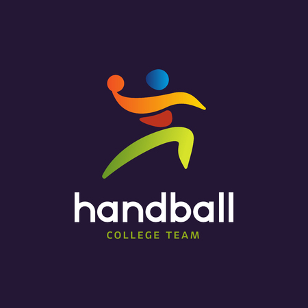 Handball vector sign. Abstract colorful silhouette of player for tournament logo or badge. Handball College team.