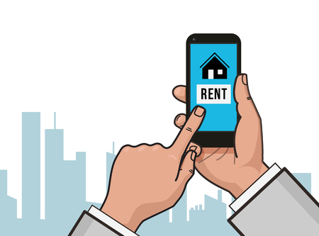 Home Icon On Smartphone Screen Hand Hold Finger Touch Rent Apartments