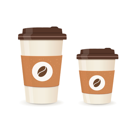 Realistic paper coffee cup set. Large and small sizes. Coffee take away. Vector illustration. Vettoriali