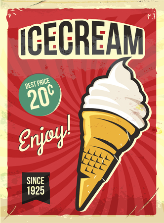 Grunge retro metal sign with icecream. Vintage advertising poster. Old fashioned design.