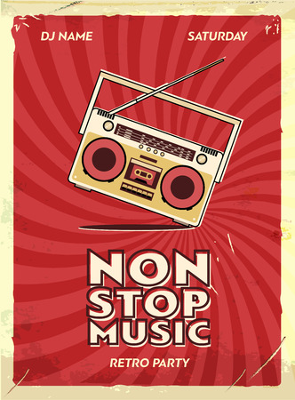 Diseño retro del cartel del partido. Evento de música en el club nocturno. Plantilla de la invitación del vintage. Efectos del grunge. Grabadora de cassette vieja.