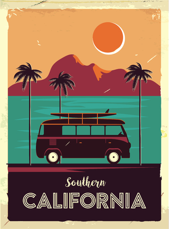 Grunge retro metal sign with palm trees and van. Surfing in California. Vintage advertising poster. Old fashioned design.
