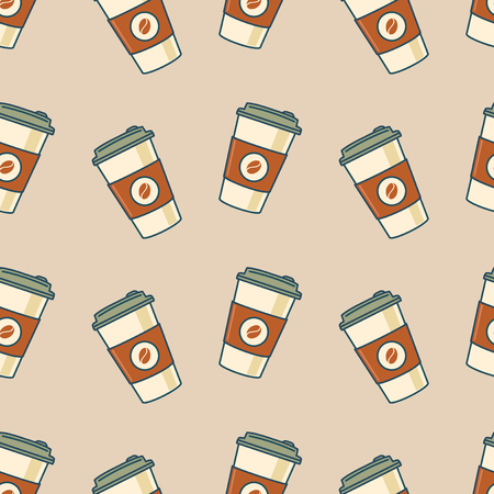 Paper coffee cups. Seamless pattern. Retro style. Vector illustration Illustration