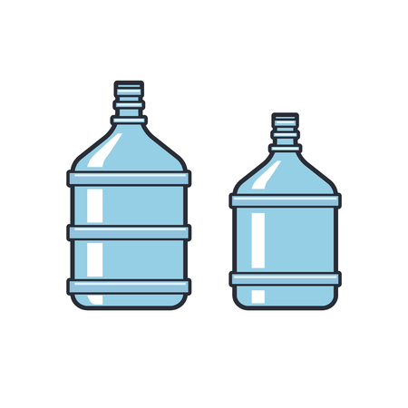 bottled: Big bottles with clean water. Flat icons. Plastic container for the cooler. Isolated on white background. illustration