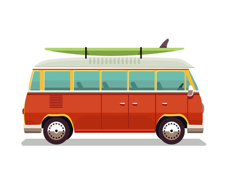 Retro travel red van icon. Surfer van. Vintage travel car. Old classic camper minivan. Retro hippie bus. illustration in flat design isolated on white background