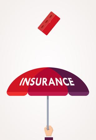 Concepto de seguro de salud Diseño plano. Mano que sostiene el paraguas por encima cuando cae el ladrillo. Idea creativa. Ilustración vectorial Ilustración de vector