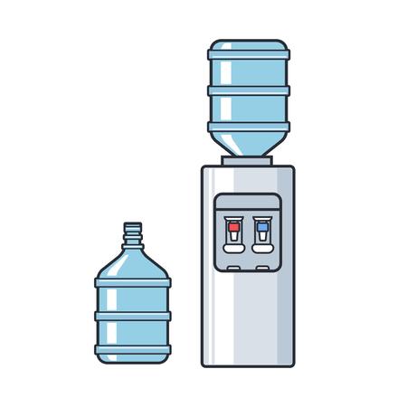 Line vector plastic water cooler with blue full bottle. Flat illustration on white background Vettoriali