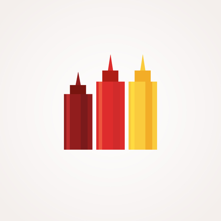 Ketchup, hot sauce and mustard squeeze bottles. icons set. Flat style design Stock Photo