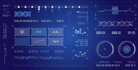 未来的なユーザー インターフェイス。宇宙船の画面要素を設定します。インフォ グラフィックを表示します。濃い色のグラフィック タッチ スクリ 写真素材