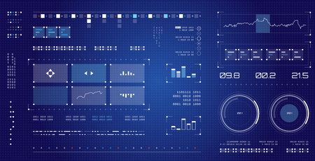 Futuristische gebruikersinterface. Ruimteschip schermelementen instellen. Infographic-weergave. Grafisch touchscreen met donkere kleuren.
