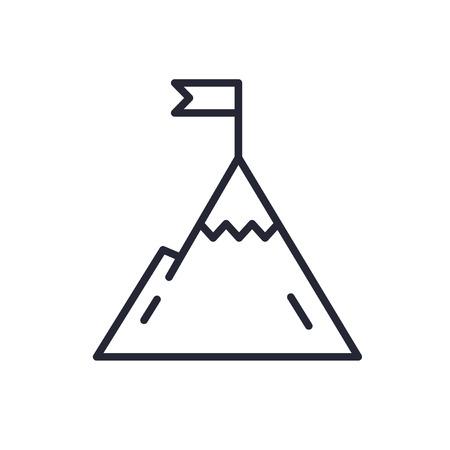 effectiveness: Mountain with flag on a peak. Leadership illustration. Success icon. Line design. Stock Photo