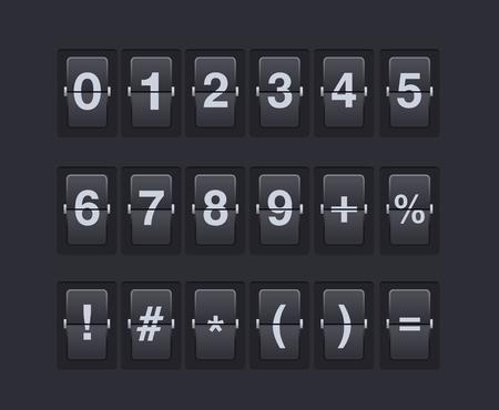 数字と機械のスコアボード上のシンボルのセット。
