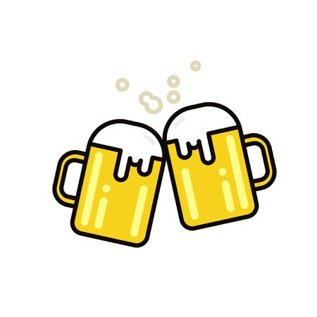 Two mugs of beer. illustration. Flat line design. Stock Photo