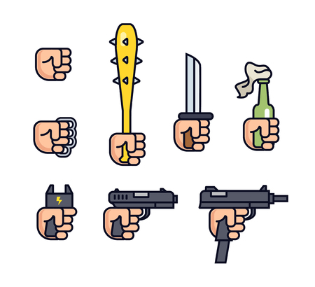 knuckles: Cold weapon and firearms collection. Weapons in the hand. line icon set for mobile game. Fist, brass knuckles, baseball bat with thorns, knife, shocker, gun, machine gun. Infographic.