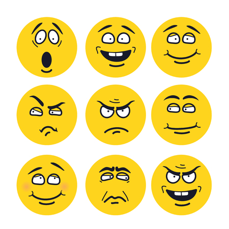 cartoon faces with expressions. Emotion set. Scared, happy, smiling, skeptical, ungry, pensive, embarrassed, upset, insidious