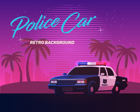 80s retro neon gradient background. Vintage police car. Palms and city. Tv glitch effect. Sci-fi beach. Illustration