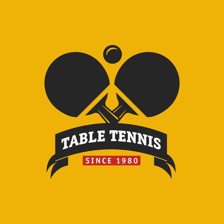 Etichetta o distintivo di campionato vintage di tennis da tavolo a colori.