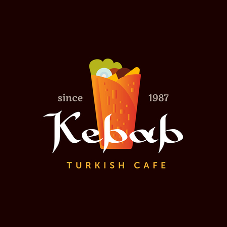 Doner kebab logo templates. Vector creative labels for Turkish and Arabian fast food restaurant.
