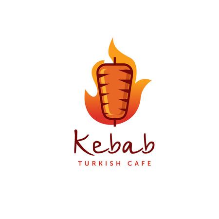 doner kebab logo cadre. étiquettes rondes vecteur pour la nourriture de produits de restauration et de l & # 39 ; alimentation spéciale .