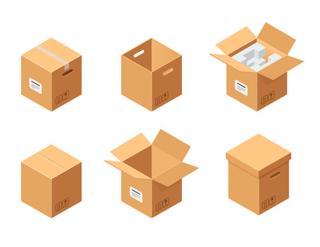 Carton packaging boxes set. Isometric view. Closed and open packages Illustration