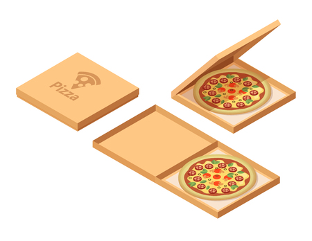 Pizza cardboard boxes set. Isometric view. Opened and closed package. Vector illustration isolated on white background. Vectores
