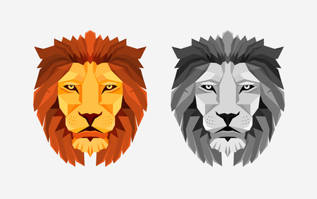 Lion head in Color and grayscale illustrations with Low poly design. Illustration