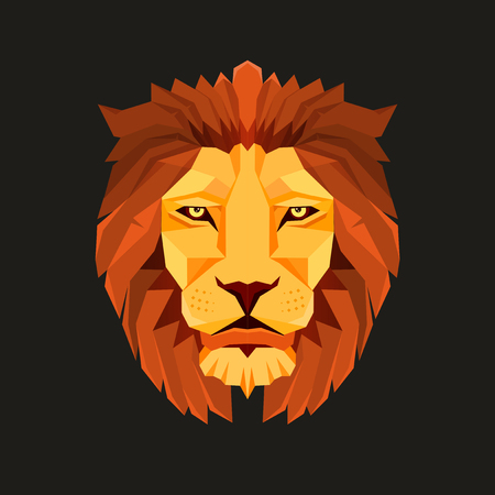 Lion head in colored illustration with low poly design in black background.