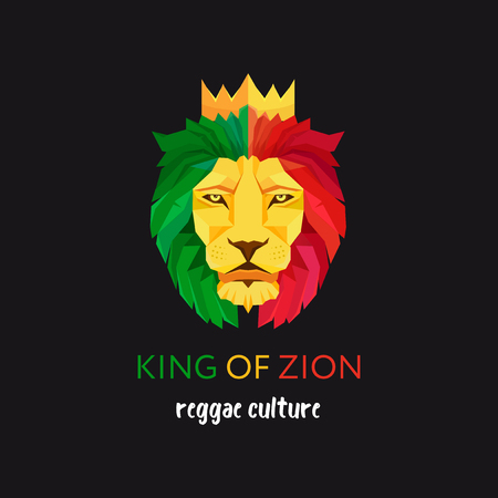 Lion head with crown, King of Zion, Symbol of the Rastafarian subculture, Flag colors of Jamaica. Stock Illustratie