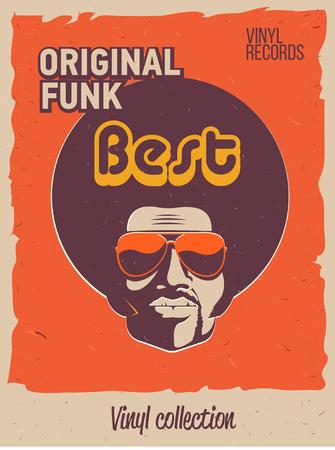 Folleto de evento de fiesta disco. Colección del cartel vintage creativo. Plantilla de estilo retro de vector. Hombre negro con gafas de sol.