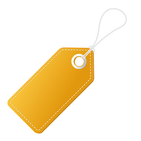 Realistic discount yellow tag for sale promotion. Vector vintage label template. Illustration