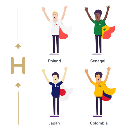 World competition. Soccer fans support national teams. Football fan with flag. Poland, Senegal, Japan, Columbia. Sport celebration. Modern flat illustration Illusztráció