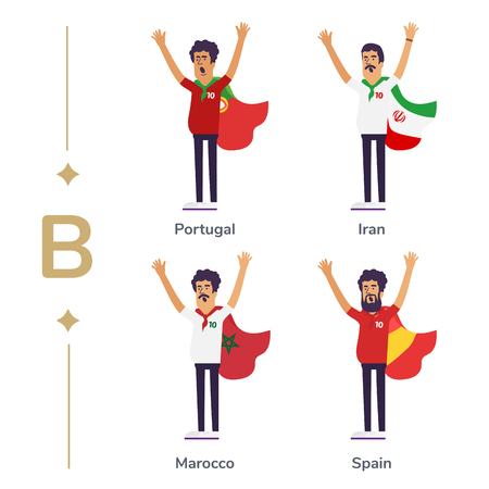 World competition. Soccer fans support national teams. Football fan with flag. Portugal, Iran, Marocco, Spain. Sport celebration. Modern flat illustration