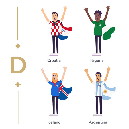 World competition. Soccer fans support national teams. Football fan with flag. Croatia, Nigeria, Iceland, Argentina. Sport celebration. Modern flat illustration