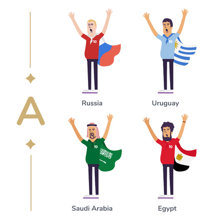 World competition. Soccer fans support national teams. Football fan with flag. Russia, Uruguay, Saudi Arabia, Egypt. Sport celebration. Modern flat illustration Çizim